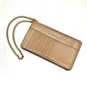 Michael  Kors Beige Patent Leather Clutch Wallet